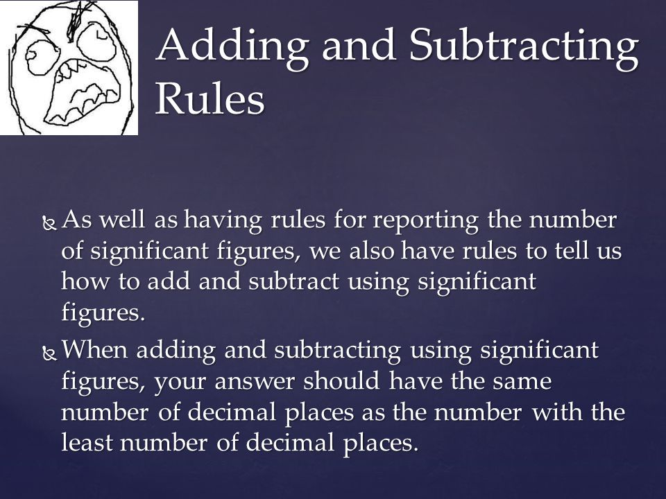 Adding and Subtracting Rules