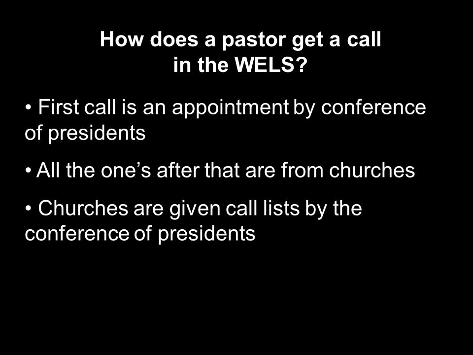 How does a pastor get a call in the WELS