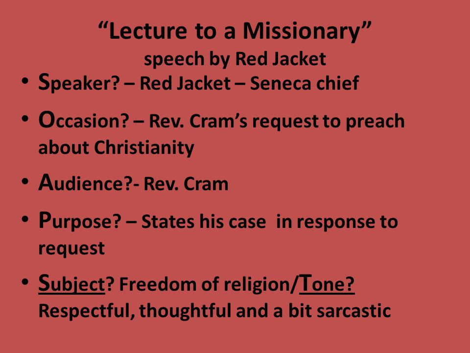 Lecture To A Missionary Speech By Red Jacket