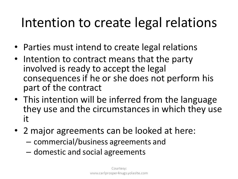 intention to create legal relationship An intention of all parties to enter into legal relations there is a presumption of no intention to create legal relations for family contracts - intention to enter into a legally enforceable relationship date: sep 14, 2014.