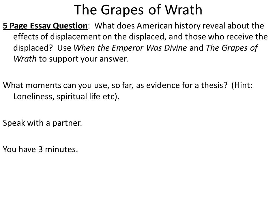 grapes of wrath setting essay The grapes of wrath summary & study guide includes detailed chapter summaries and analysis, quotes, character descriptions, themes, and more.