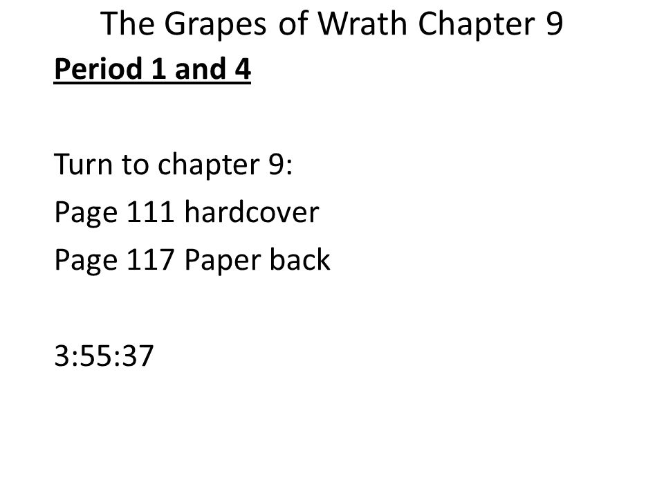 chapter 25 of the grapes of wrath Grapes of wrath - the title's meaning is evident in this passage, it reflects the contradictory nature of the chapter and book as a whole the sweet fruit (grapes) are a product of a horrible process of mechanical farming, and are soon destroyed because no one can buy them.