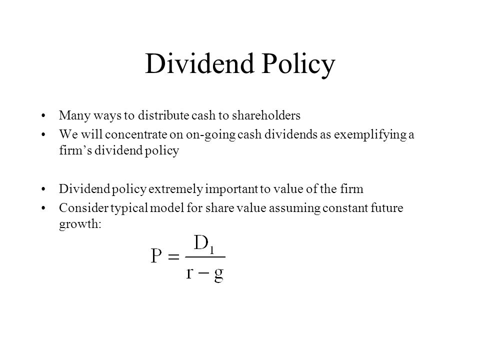 public dividend policy to shareholders Elements of dividend policy include: paying a dividend vs reinvestment in company if a firm decides to parcel out dividends to shareholders.