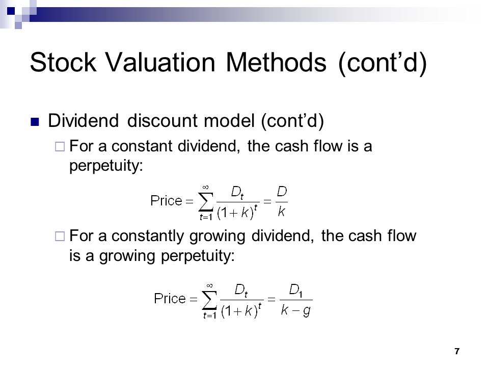 stock valuation Stock valuation can be calculated using a number of different methods the most common methods used are the discounted cash flow method, the p/e method, and the gordon model whichever method is chosen must be done accurately so that the price of stock can be valued properly.