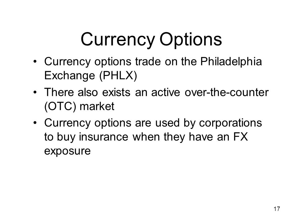 Options on stock indices and currencies