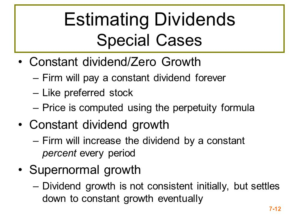 Estimating Dividends Special Cases