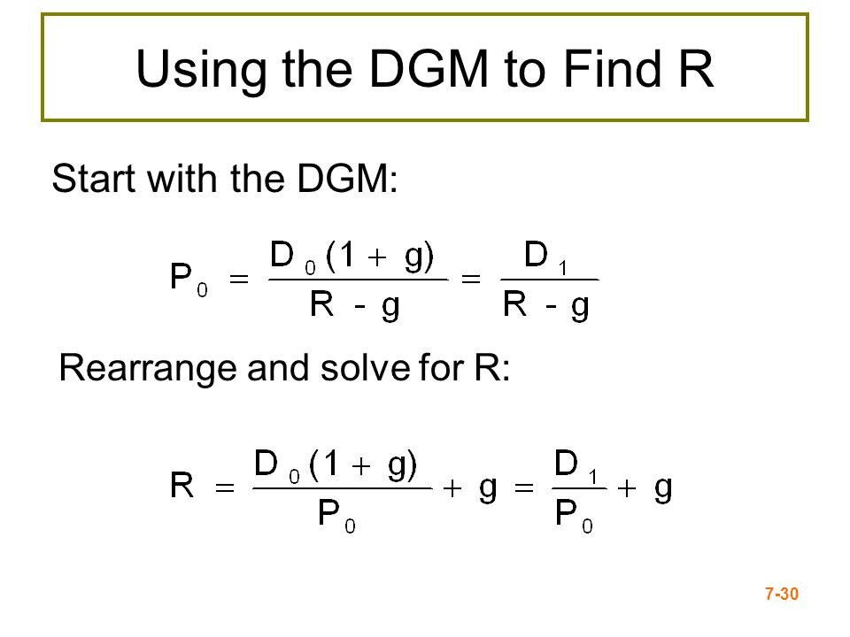 Using the DGM to Find R Start with the DGM: Rearrange and solve for R: