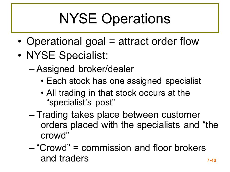 NYSE Operations Operational goal = attract order flow NYSE Specialist: