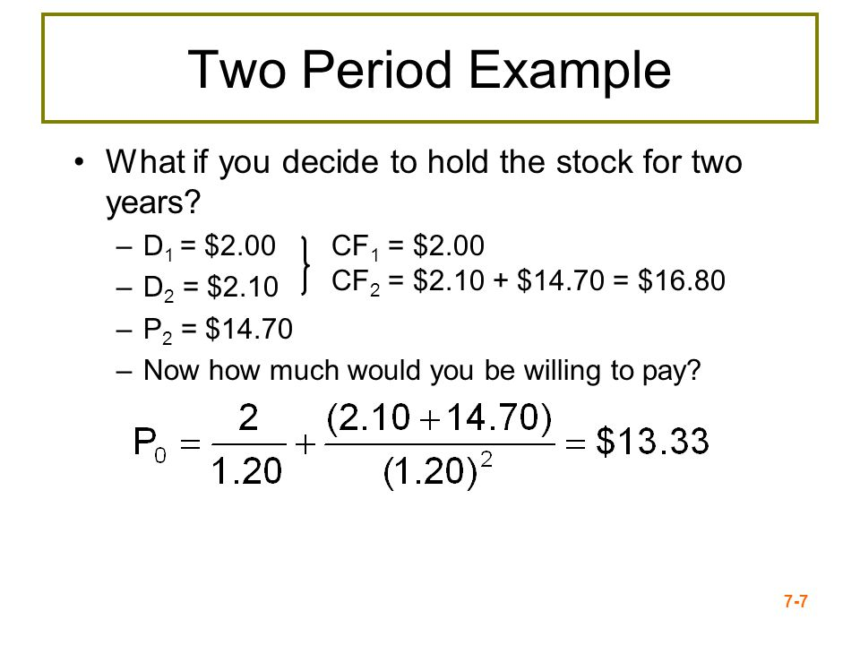 Two Period Example What if you decide to hold the stock for two years