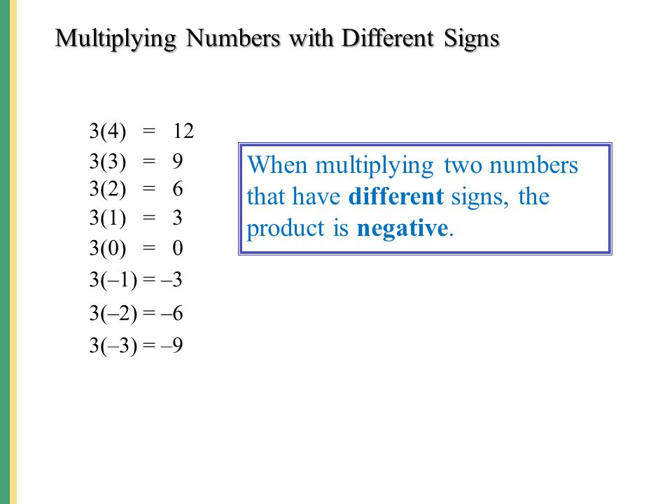 Multiplying Numbers with Different Signs