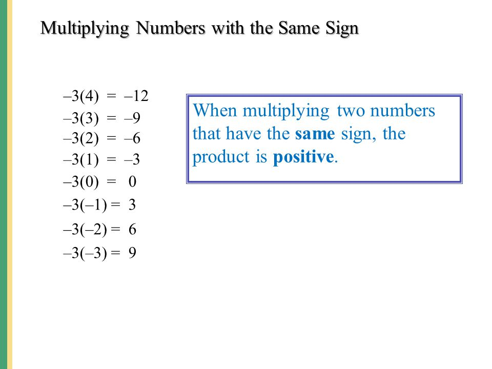 Multiplying Numbers with the Same Sign