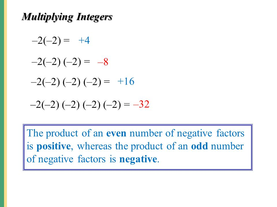 Multiplying Integers –2(–2) = +4. –2(–2) (–2) = –8. –2(–2) (–2) (–2) = +16. –2(–2) (–2) (–2) (–2) =