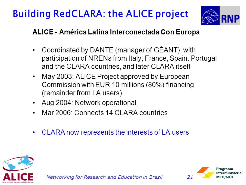 Building RedCLARA: the ALICE project