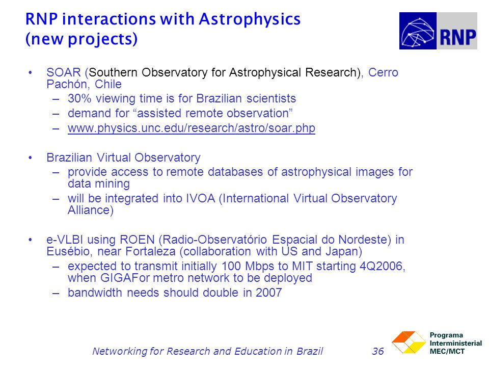RNP interactions with Astrophysics (new projects)
