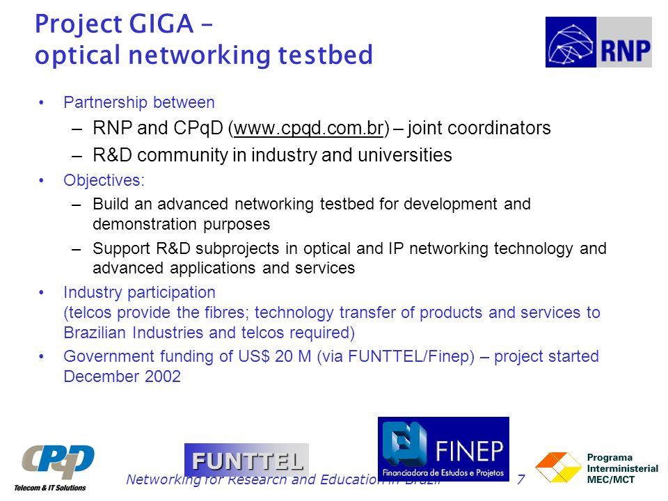 Project GIGA – optical networking testbed