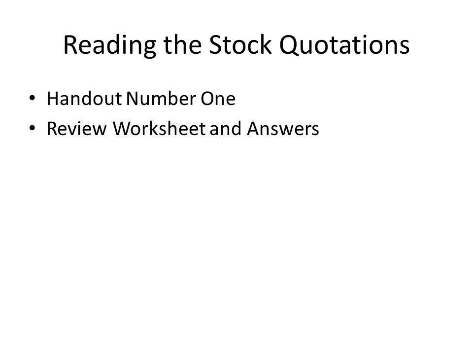 stock market worksheet