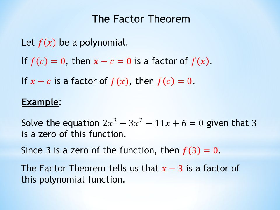 factor theorem how to find the factor