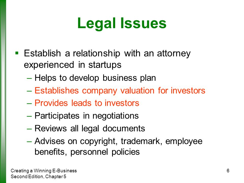 legal issues in a business plan