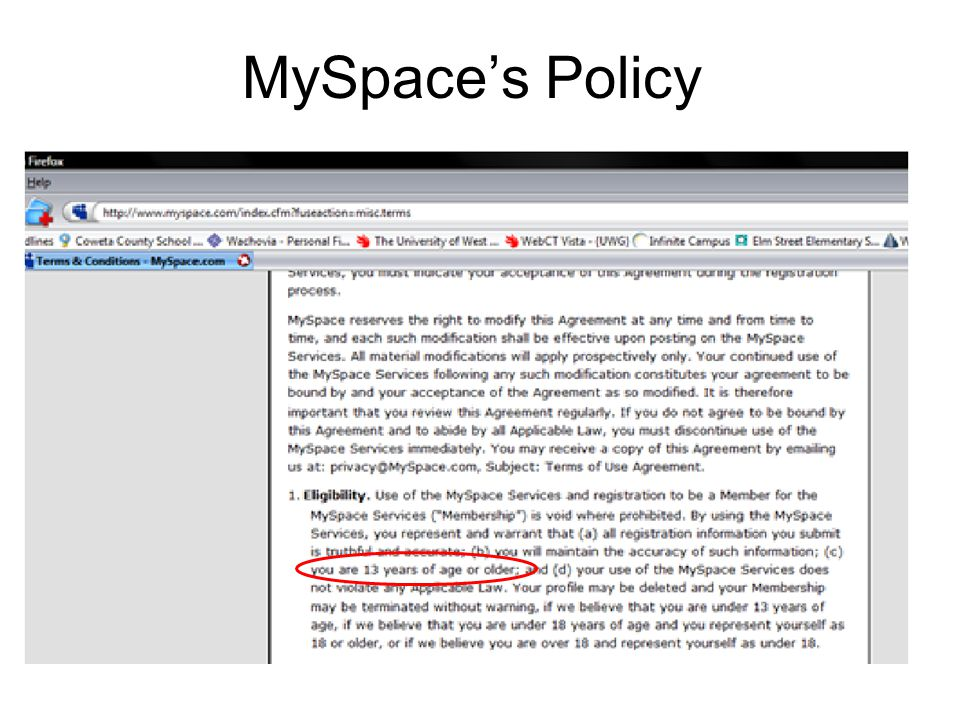 MySpace's Policy