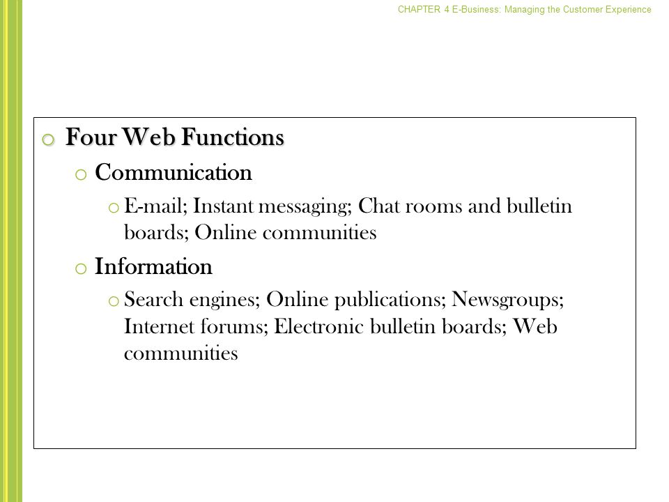 Four Web Functions Communication Information