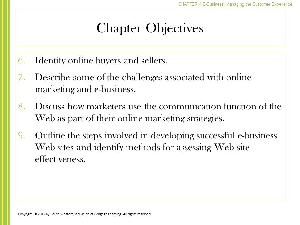 Chapter Objectives Identify online buyers and sellers.
