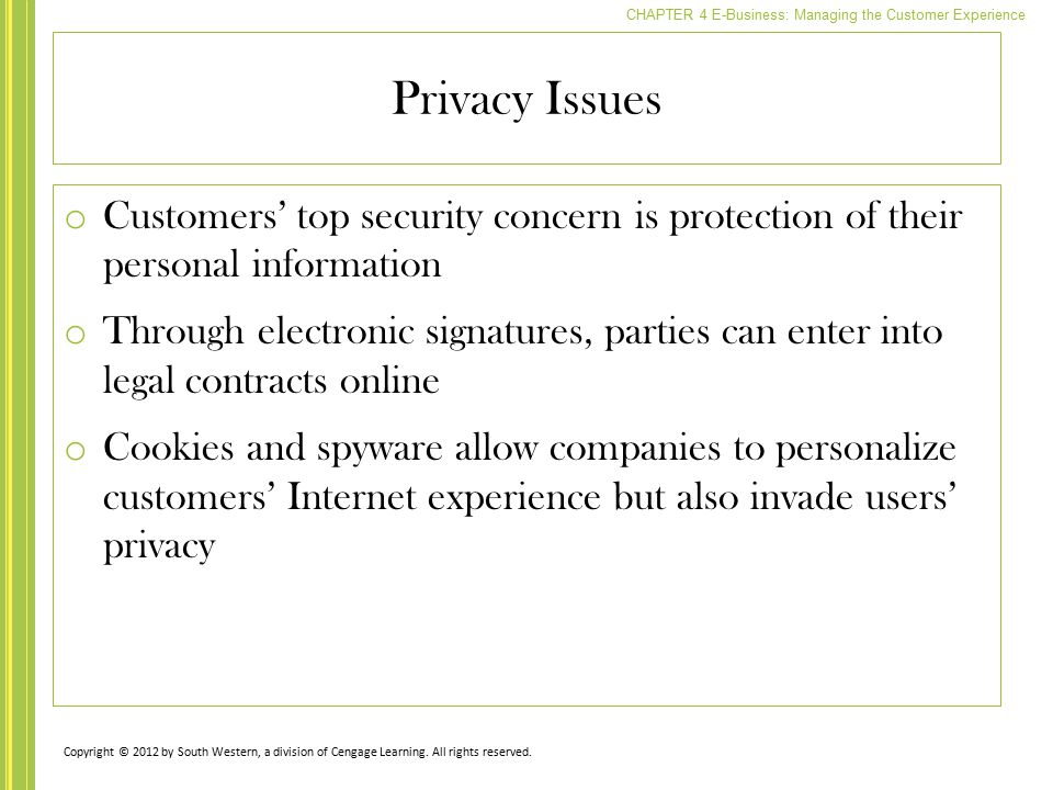 Privacy Issues Customers' top security concern is protection of their personal information.