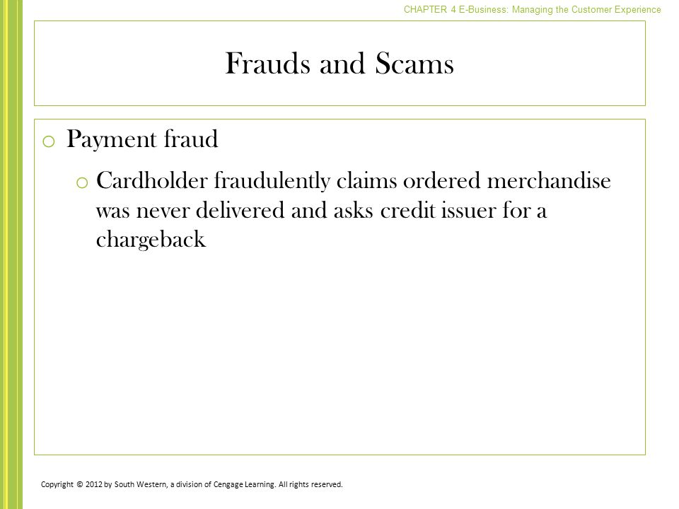 Frauds and Scams Payment fraud