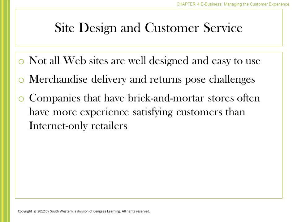Site Design and Customer Service
