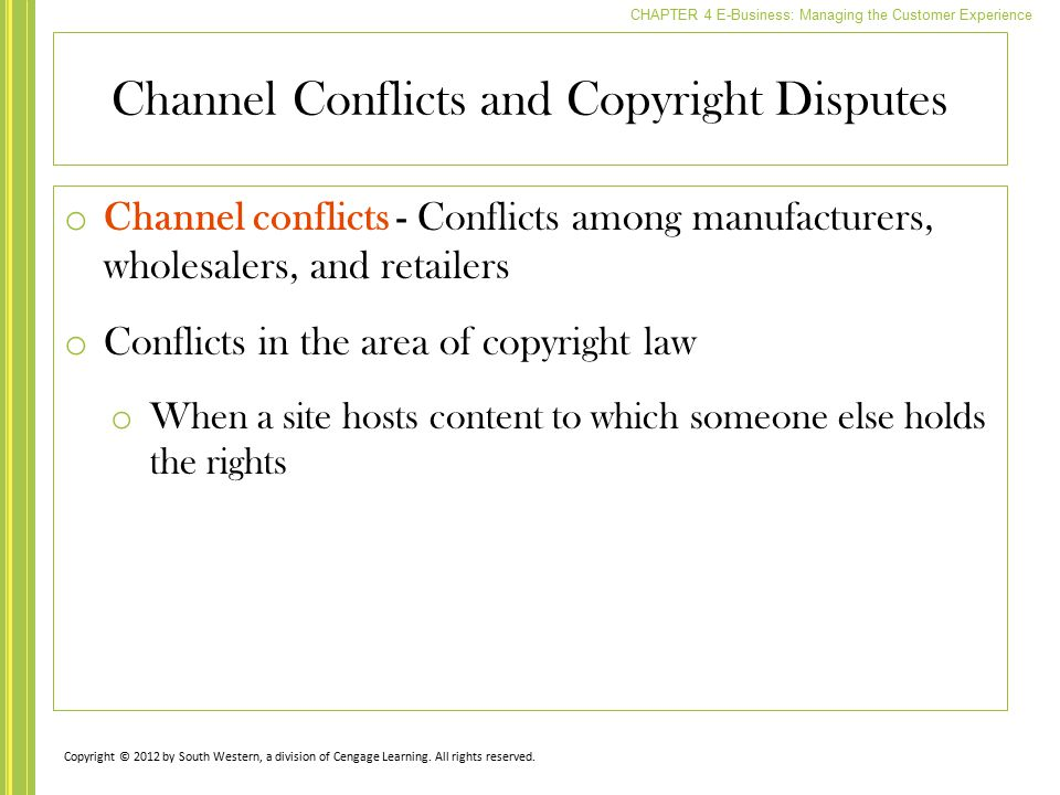 Channel Conflicts and Copyright Disputes