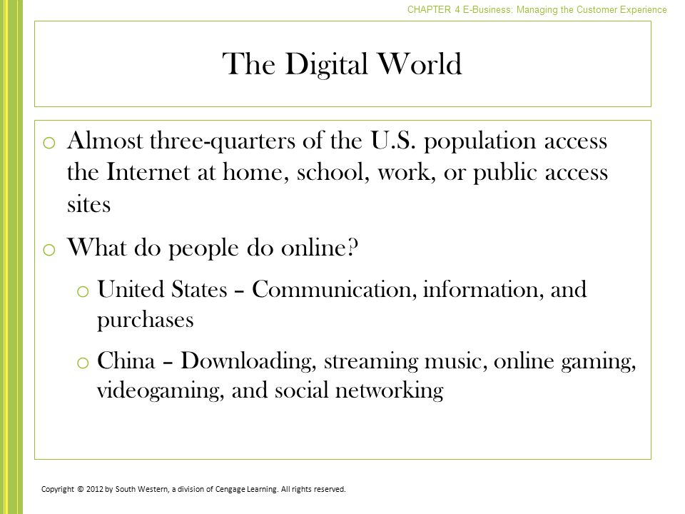 The Digital World Almost three-quarters of the U.S. population access the Internet at home, school, work, or public access sites.