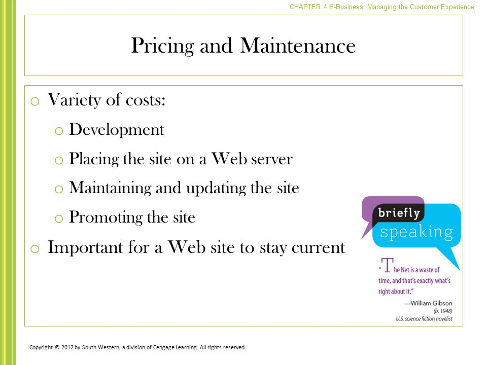 Pricing and Maintenance