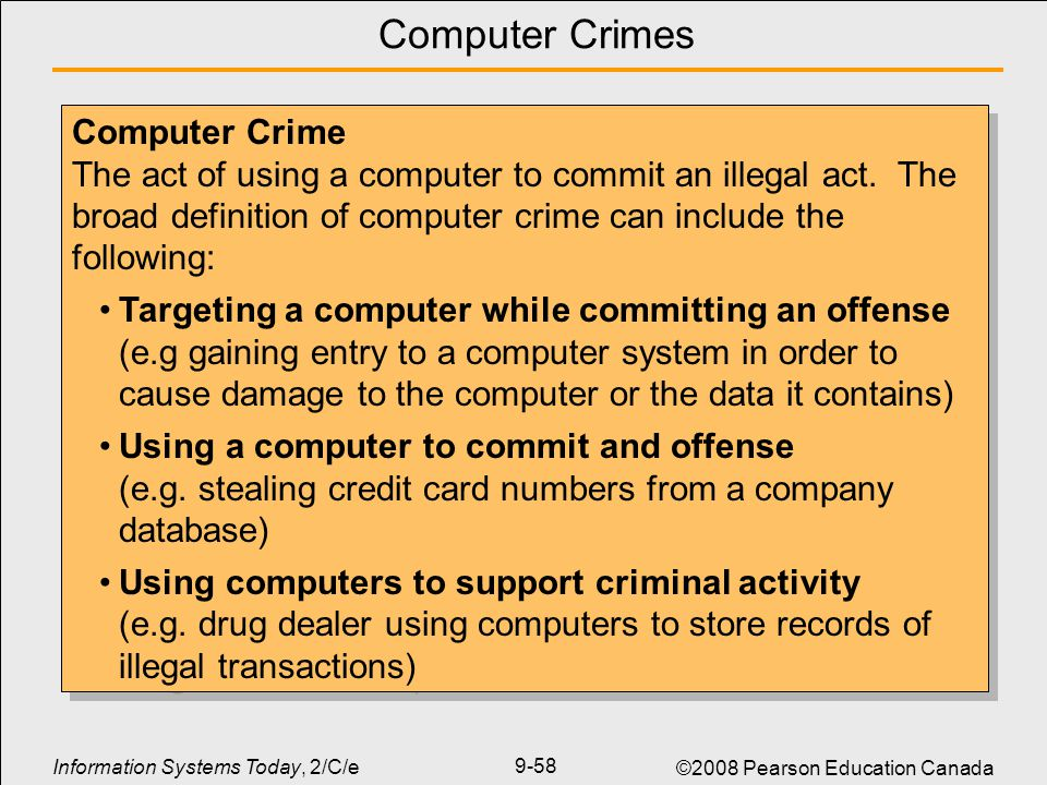 computers and crime Computer crime laws prohibit use of computer hardware, files, and online communication to commit illegal activity, such as the theft of information or.