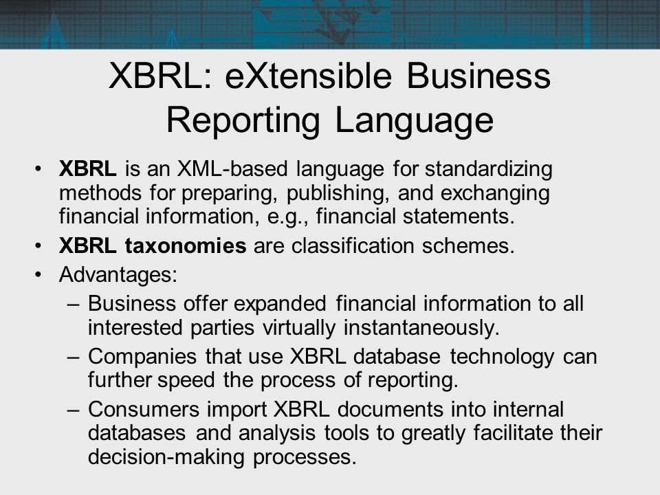 Standard business reporting taxonomy codes