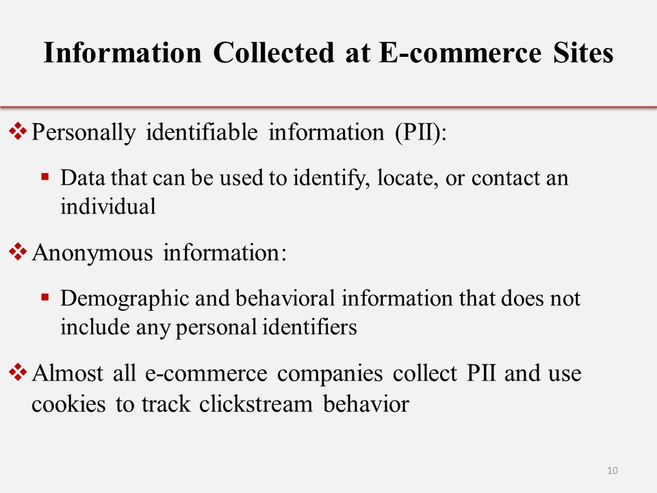 Information Collected at E-commerce Sites