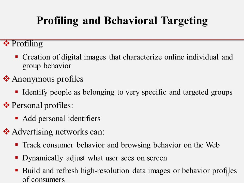 Profiling and Behavioral Targeting