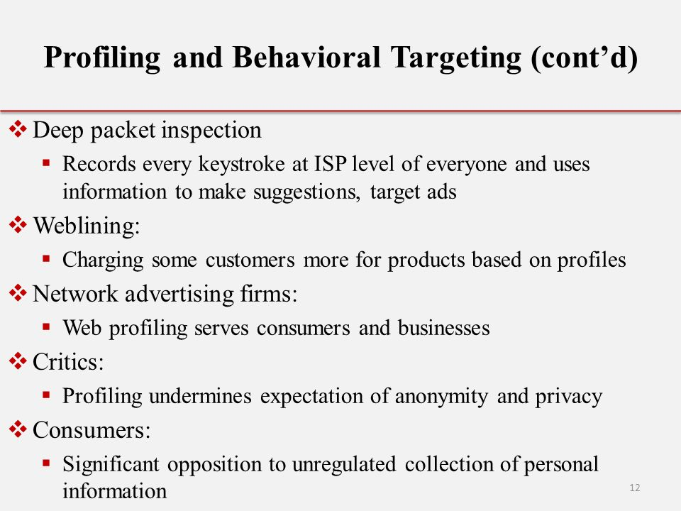 Profiling and Behavioral Targeting (cont'd)