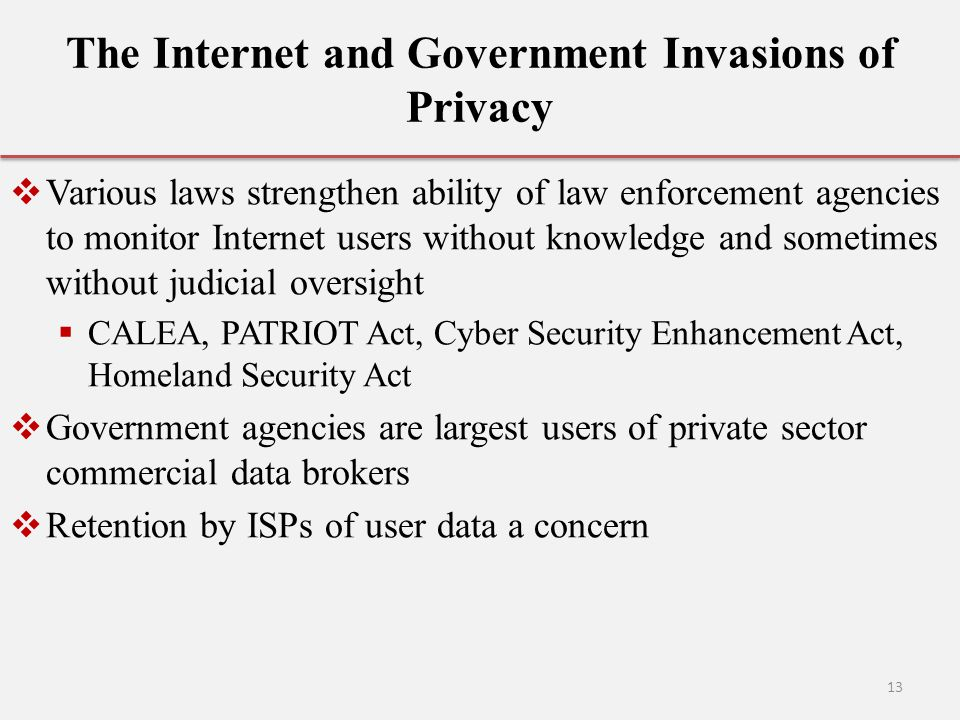 The Internet and Government Invasions of Privacy
