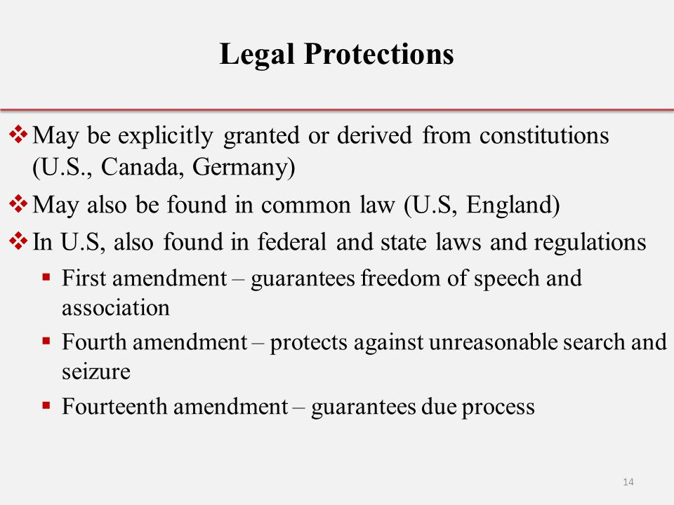 Legal Protections May be explicitly granted or derived from constitutions (U.S., Canada, Germany) May also be found in common law (U.S, England)