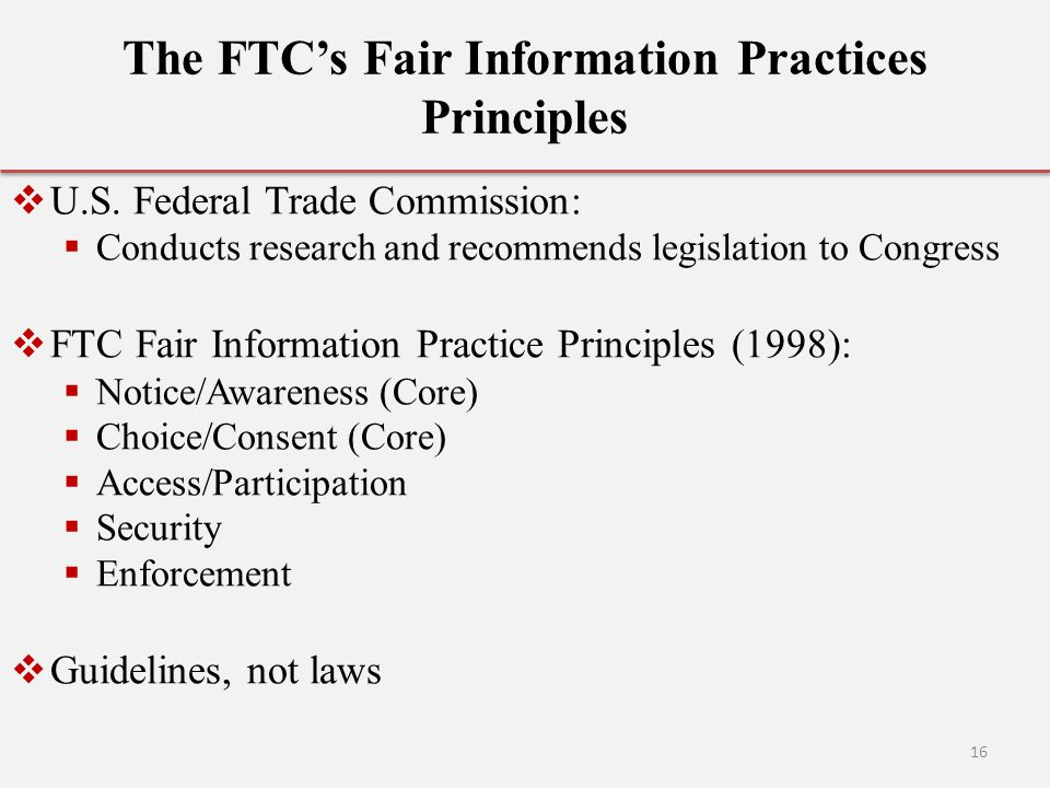 The FTC's Fair Information Practices Principles