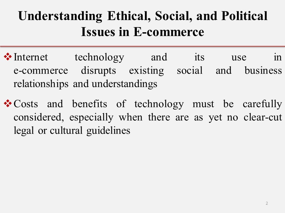Understanding Ethical, Social, and Political Issues in E-commerce