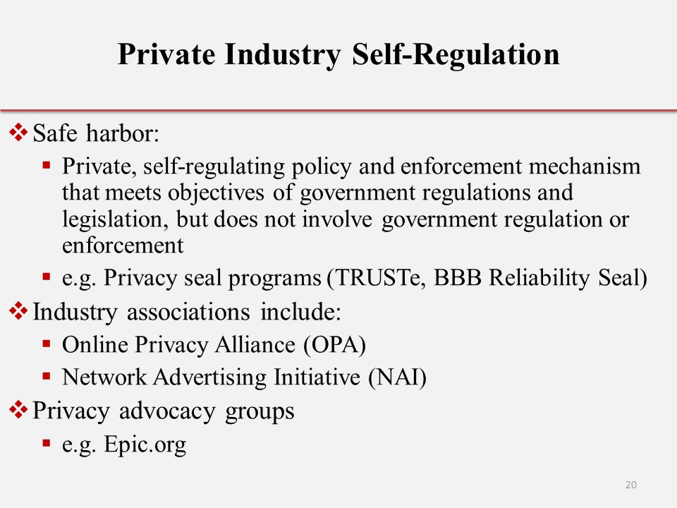 Private Industry Self-Regulation