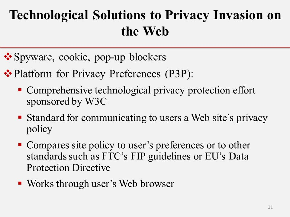 Technological Solutions to Privacy Invasion on the Web