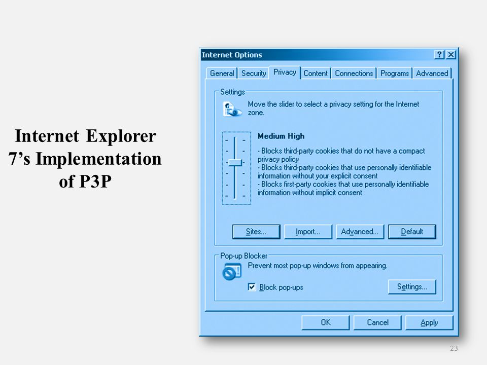 Internet Explorer 7's Implementation of P3P