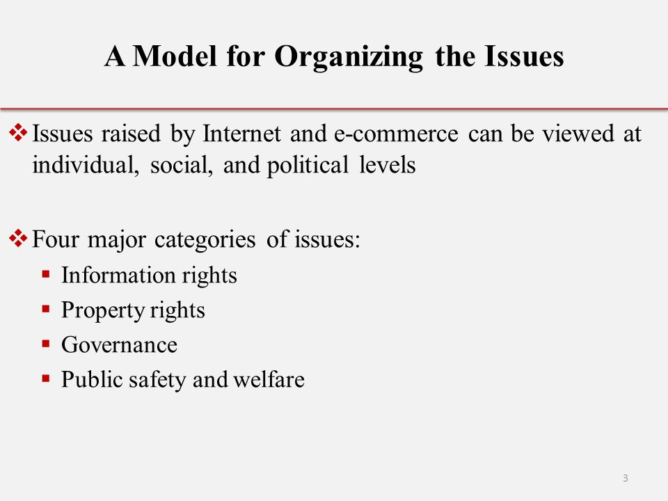 A Model for Organizing the Issues