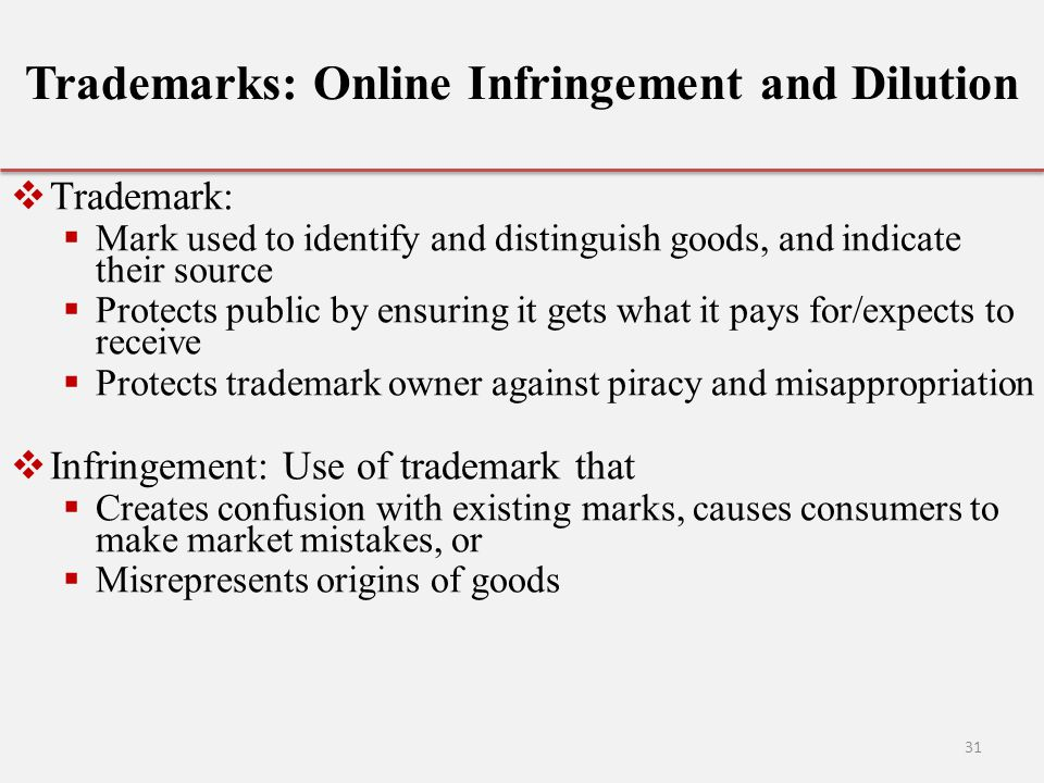 Trademarks: Online Infringement and Dilution