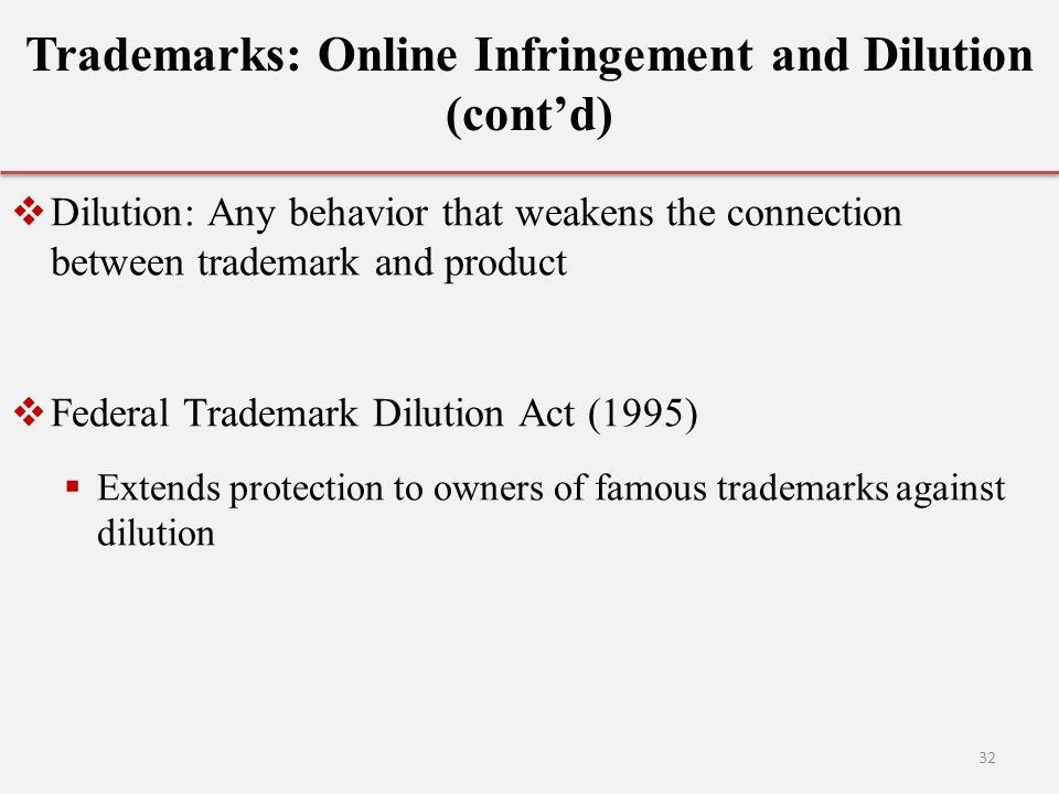 Trademarks: Online Infringement and Dilution (cont'd)