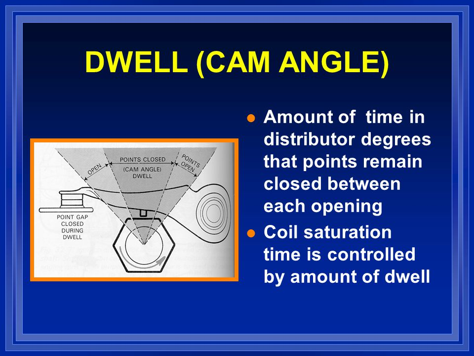 DWELL (CAM ANGLE) Amount of time in distributor degrees that points remain closed between each opening.