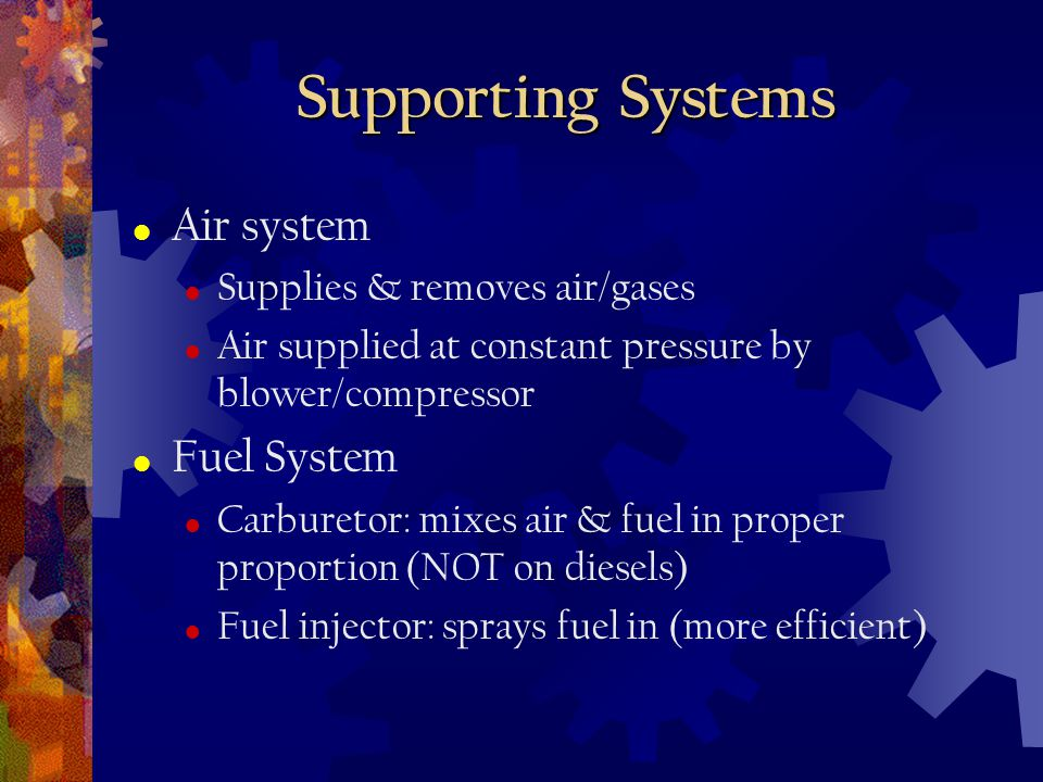 Supporting Systems Air system Fuel System Supplies & removes air/gases