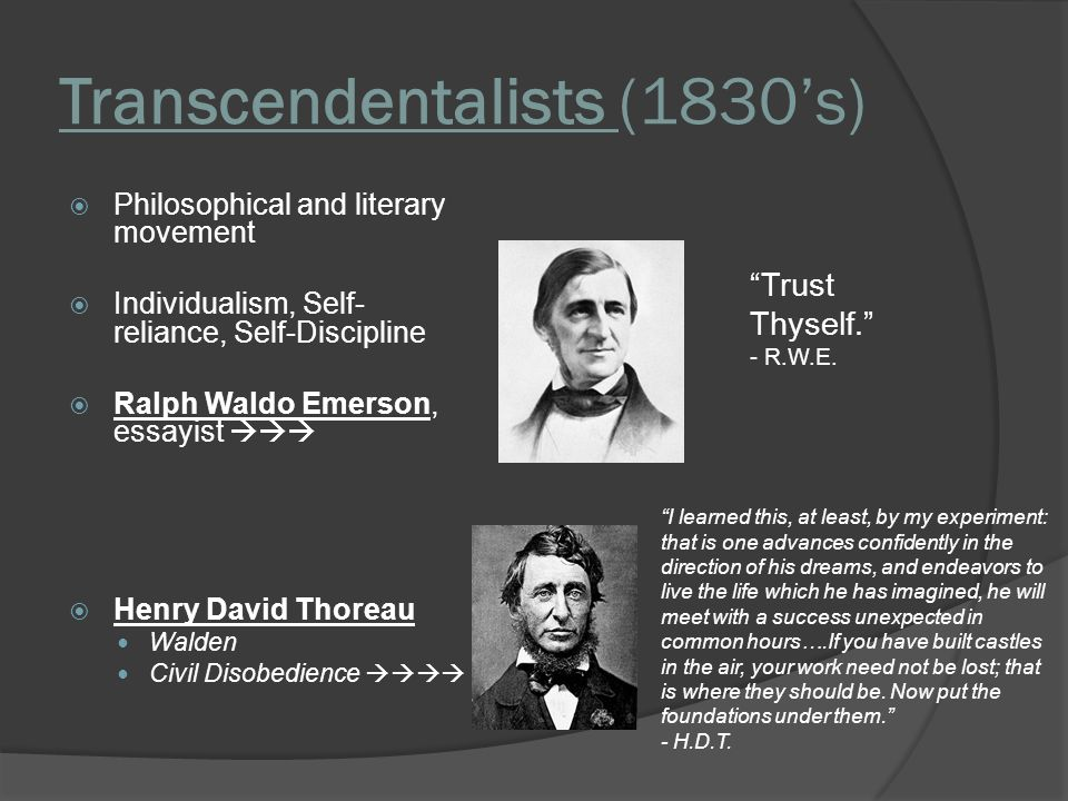 transcendentalist writers Video: transcendentalism: impact on american literature this video defines transcendentalism, a literary movement of the mid-19th century authors such as ralph waldo emerson, henry david thoreau, and walt whitman used their literary platforms to encourage americans to transcend society's presumptions and create a personal.