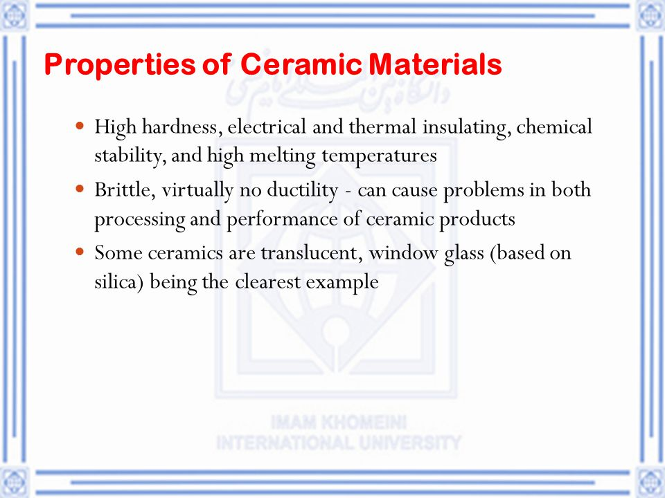 electrical properties of ceramic materials Details of fine ceramics (advanced ceramics) property thermal conductivity : ceramics with high or low thermal conductivity can be selected from our materials list.